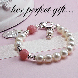 BeadifulBABY.com - Customer Testimonials - This customer purchased the My Our Father Hail Mary - My First Rosary™ - Sterling Silver and Freshwater Cultured Pearl Rosary Gemstone Bracelet with genuine pink opal gemstones.