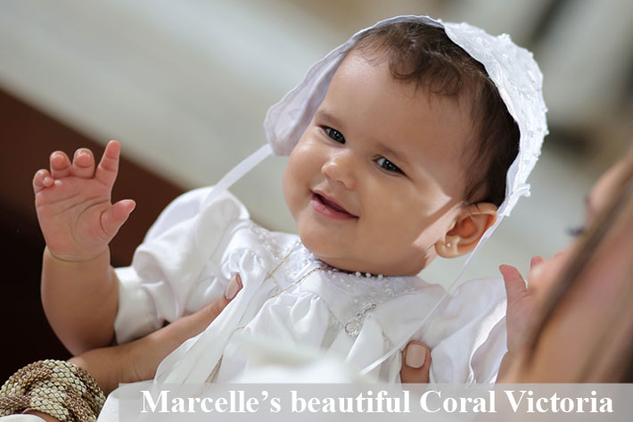 BeadifulBABY.com - Customer Testimonials - Beautiful Coral Victoria is wearing the Guardian Angel -14K White Gold Religious Christening Pin - Brooch Jewelry for Baby