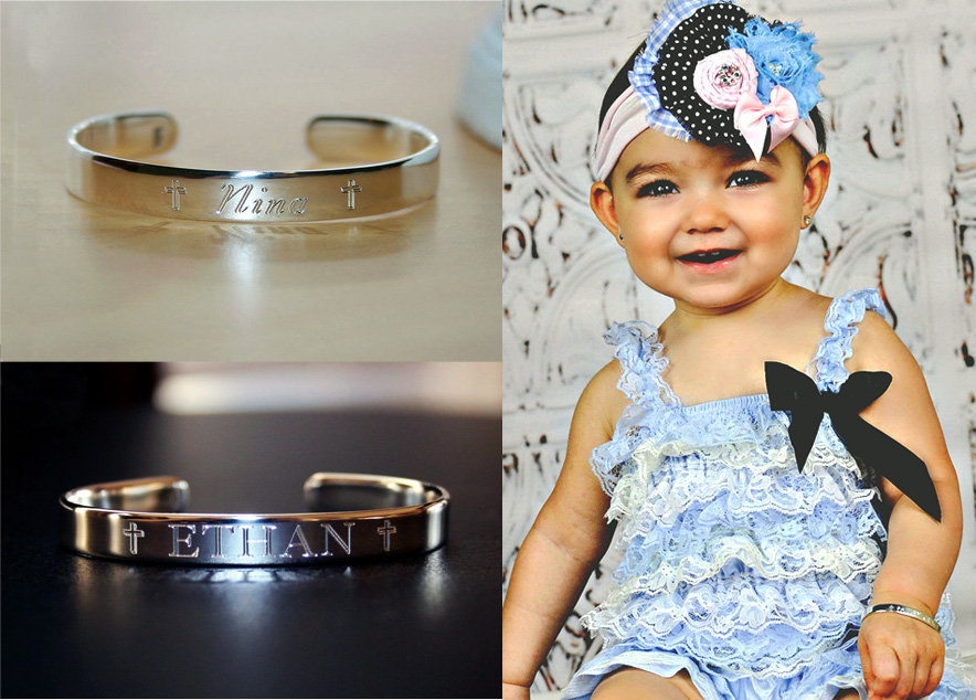 Baptism Christening Personalized Cuff Baby Bracelets for Girls and Boys