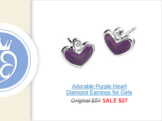 Adorable Purple Heart Diamond Earrings for Girls