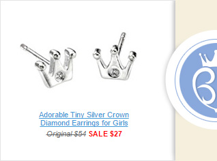 Adorable Tiny Silver Crown Diamond Earrings for Girls