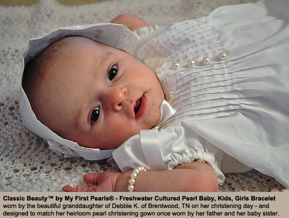 BeadifulBABY.com - Customer Testimonials - This customer purchased the Classic Beauty™ by My First Pearls® - Freshwater Cultured Pearl Baby, Kids, Girls Bracelet – Add an Engravable Charm and Birthstone to Personalize