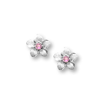 Girls Elegant Flower Girl Keepsakes™ - 14K White Gold Screw Back Pink Sapphire Flower Earrings for Babies & Toddlers - Safety threaded screw back post - BEST SELLER
