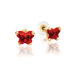 Baby 14K Yellow Gold January Garnet C.Z. Tiny Butterfly Push Back Stud Earrings/