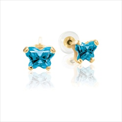 Baby 14K Yellow Gold December Blue Topaz C.Z. Tiny Butterfly Push Back Stud Earrings/