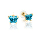 Teeny Tiny Butterfly Earrings for Baby Girls by Bfly® - December Blue Topaz Cubic Zirconia (CZ) Birthstone - 14K Yellow Gold - Kids Earrings with Screw Back Safety Backs