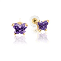 Baby 14K Yellow Gold February Amethyst C.Z. Tiny Butterfly Push Back Stud Earrings/