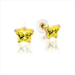 Baby 14K Yellow Gold November Citrine C.Z. Tiny Butterfly Push Back Stud Earrings/