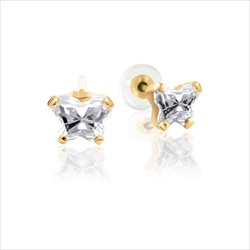 Baby 14K Yellow Gold April Diamond C.Z. Tiny Butterfly Push Back Stud Earrings/