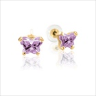 Baby 14K Yellow Gold June Alexandrite C.Z. Tiny Butterfly Push Back Stud Earrings