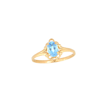 Children's Birthstone Rings - 14K Yellow Gold Girls Genuine Aquamarine March Birthstone Ring - Size 5 1/2 - Perfect for Grade School Girls, Tweens, or Teens - BEST SELLER