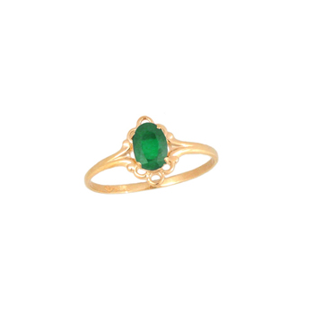 Children's Birthstone Rings - 14K Yellow Gold Girls Genuine Emerald May Birthstone Ring - Size 5 1/2 - Perfect for Grade School Girls, Tweens, or Teens - BEST SELLER