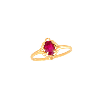 Children's Birthstone Rings - 14K Yellow Gold Girls Genuine Ruby July Birthstone Ring - Size 5 1/2 - Perfect for Grade School Girls, Tweens, or Teens - BEST SELLER