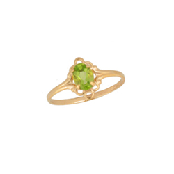 Children's Birthstone Rings - 14K Yellow Gold Girls Genuine Peridot August Birthstone Ring - Size 5 1/2 - Perfect for Grade School Girls, Tweens, or Teens - BEST SELLER/