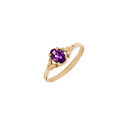 Kid's Birthstone Rings for Girls - 14K Yellow Gold Girls Genuine Amethyst February Birthstone Ring - Size 4 1/2 - Perfect for Grade School Girls, Tweens, or Teens - BEST SELLER/