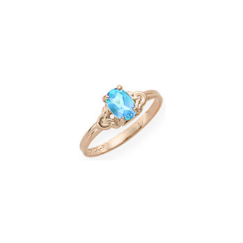 Kid's Birthstone Rings for Girls - 14K Yellow Gold Girls Genuine Aquamarine March Birthstone Ring - Size 4 1/2 - Perfect for Grade School Girls, Tweens, or Teens - BEST SELLER