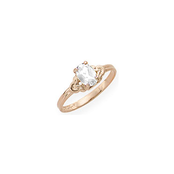 Kid's Birthstone Rings for Girls - 14K Yellow Gold Girls Genuine White Topaz April Birthstone Ring - Size 4 1/2 - Perfect for Grade School Girls, Tweens, or Teens - BEST SELLER