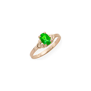Kid's Birthstone Rings for Girls - 14K Yellow Gold Girls Genuine Emerald May Birthstone Ring - Size 4 1/2 - Perfect for Grade School Girls, Tweens, or Teens - BEST SELLER