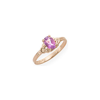 Kid's Birthstone Rings for Girls - 14K Yellow Gold Girls Genuine Pink Tourmaline October Birthstone Ring - Size 4 1/2 - Perfect for Grade School Girls, Tweens, or Teens - BEST SELLER