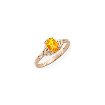 Kid's Birthstone Rings for Girls - 14K Yellow Gold Girls Genuine Citrine November Birthstone Ring - Size 4 1/2 - Perfect for Grade School Girls, Tweens, or Teens - BEST SELLER