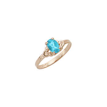 Kid's Birthstone Rings for Girls - 14K Yellow Gold Girls Genuine Blue Zircon December Birthstone Ring - Size 4 1/2 - Perfect for Grade School Girls, Tweens, or Teens - BEST SELLER