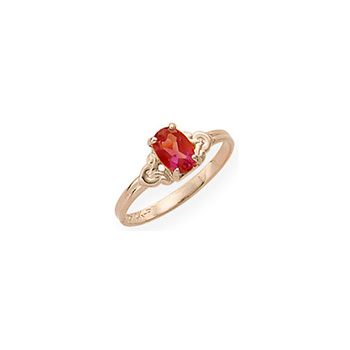Kid's Birthstone Rings for Girls - 14K Yellow Gold Girls Genuine Garnet January Birthstone Ring - Size 4 1/2 - Perfect for Grade School Girls, Tweens, or Teens - BEST SELLER