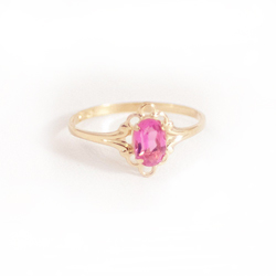 Children's Birthstone Rings - 14K Yellow Gold Girls Genuine Pink Tourmaline October Birthstone Ring - Size 5 1/2 - Perfect for Grade School Girls, Tweens, or Teens - BEST SELLER/