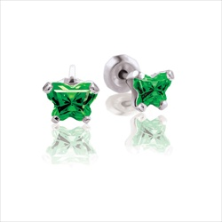 Baby 14K White Gold May Emerald C.Z. Tiny Butterfly Push Back Stud Earrings/