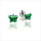 Baby 14K White Gold May Emerald C.Z. Tiny Butterfly Push Back Stud Earrings