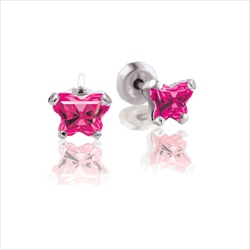 Baby 14K White Gold July Ruby C.Z. Tiny Butterfly Push Back Stud Earrings/