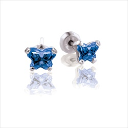 Baby 14K White Gold September Sapphire C.Z. Tiny Butterfly Push Back Stud Earrings/