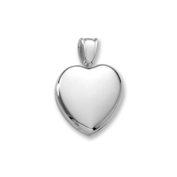 Handmade Premium Heirloom Lockets to Love - Sterling Silver Rhodium 24mm Large Heart Photo Locket - Engravable on front and back - 20