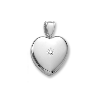 "Handmade Premium Heirloom Lockets to Love - Sterling Silver Rhodium 24mm Large Heart Photo Locket - .04 ct. tw. Center Diamond - Engravable on back - 20"" chain included - BEST SELLER"