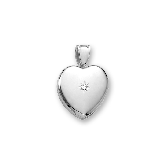 "Handmade Premium Heirloom Lockets to Love - Sterling Silver Rhodium 20mm Medium Heart Photo Locket - .04 ct. tw. Center Diamond - Engravable on back - 18"" chain included - BEST SELLER"