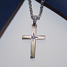 Heirloom Diamond Cross Necklace - Sterling Silver Rhodium Cross Pendant with 1-Point Diamond Accent - Includes 18