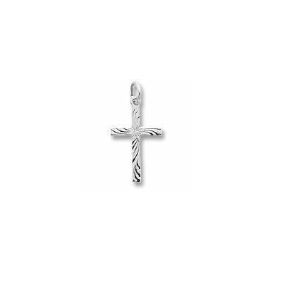 Rembrandt Sterling Silver Large Diamond-Cut Cross Charm – Add to a bracelet or necklace