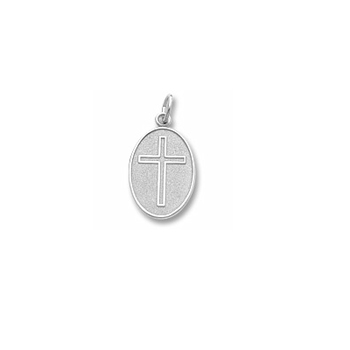 Keepsake Personalized Cross - Sterling Silver Rembrandt Charm – Engravable on back - Add to a bracelet or necklace