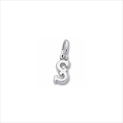 Rembrandt Sterling Silver Tiny Initial S Charm – Add to a bracelet or necklace/