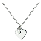 Gorgeous Girls Double Heart Necklace - Sterling Silver Rhodium - 14