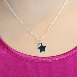 Gorgeous Girls Double Star Necklace - Sterling Silver Rhodium - 14
