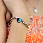 Girls Sterling Silver Heart Tag Charm Bracelet - Engravable on the front and back - Size 6.5