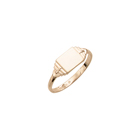 Boys Rings - 10K Yellow Gold Boys Engravable Signet Ring - Rectangular Ring Face - Size 4