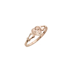First Communion Heart Cross Ring For Girls - 10K Yellow Gold Girls Cross Ring - Size 4 (4 - 12 years)