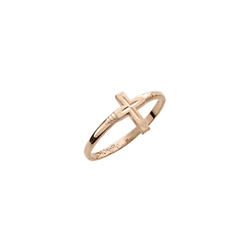 Children's Cross Ring - 10K Yellow Gold Toddler, Child Band for Girls and Boys - Size 3 1/2/