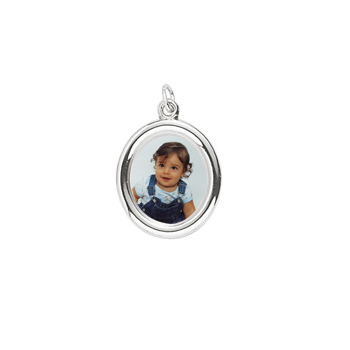 Rembrandt Sterling Silver Large Oval PhotoArt Charm – Engravable on back - Add to a bracelet or necklace