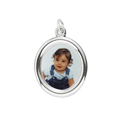 Rembrandt Sterling Silver Large Oval PhotoArt Charm – Engravable on back - Add to a bracelet or necklace/