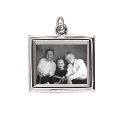 Rembrandt  Sterling Silver Large Rectangle (Horizontal) PhotoArt Charm – Engravable on back - Add to a bracelet or necklace/