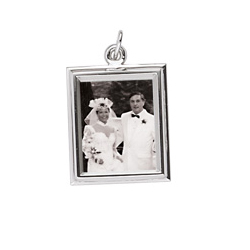 Rembrandt Sterling Silver Large Rectangle (Vertical) PhotoArt Charm – Engravable on back - Add to a bracelet or necklace/
