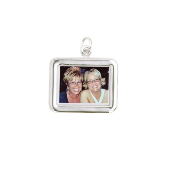 Rembrandt Sterling Silver Rectangle (Horizontal) PhotoArt Charm – Engravable on back - Add to a bracelet or necklace