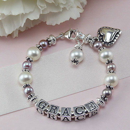 Grace™ by My First Pearls® – Grow-With-Me® designer original freshwater cultured pearl name bracelet – Personalize with gemstones & charms